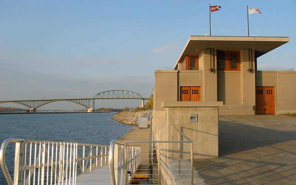 Frank Lloyd Wright initially designed the Fontana Rowing Boathouse for a site at the University of Wisconsin more than a century ago, which was never built.
