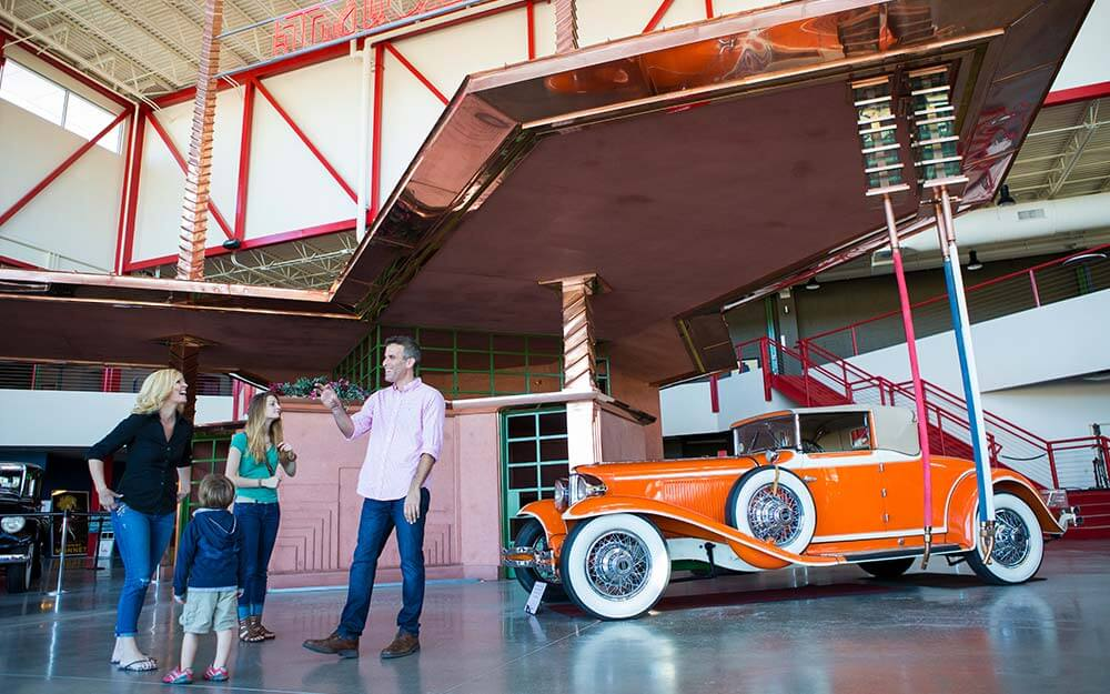 The Frank Lloyd Wright Filling Station is located within the Buffalo Transportation Pierce-Arrow Museum.