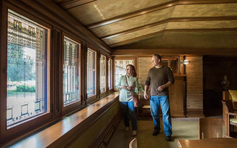 """The """"Tree of Life"""" windows are a signature design element inside Frank Lloyd Wright's Martin House Complex in Buffalo."""
