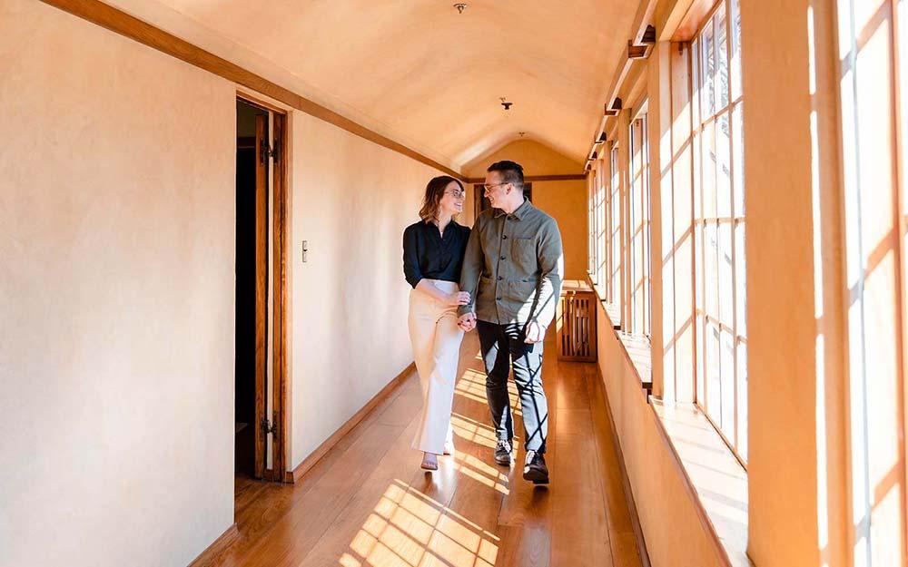 A couple walks through the Frank Lloyd Wright's Graycliff Estate in Derby.