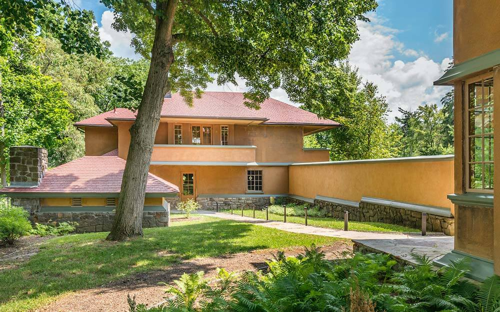 Frank Lloyd Wright's Graycliff Estate is located along the Lake Erie shoreline in Derby, approximately 30 minutes south of Buffalo.