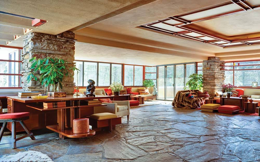 Frank Lloyd Wright's Fallingwater exemplifies the architect's philosophy of  organic architecture, the harmonious union of art and nature.