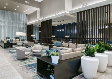 Plush accommodations in a hotel lobby in College Station, TX.