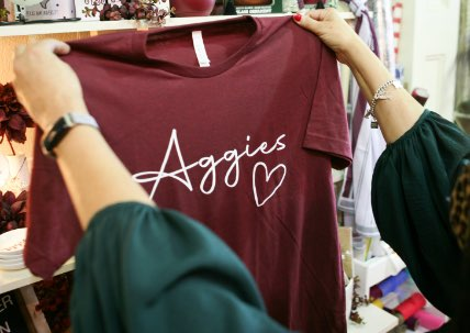 A maroon Aggie tee-shirt at one of College Station's boutique stores.