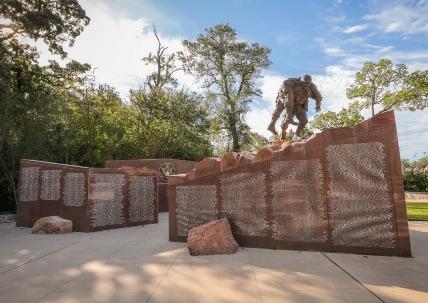 A war memorial in College Station, TX honoring veterans.