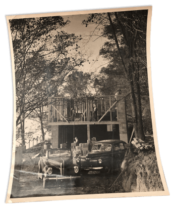 Photograph of the construction of a home on Cayuga Lake in New York