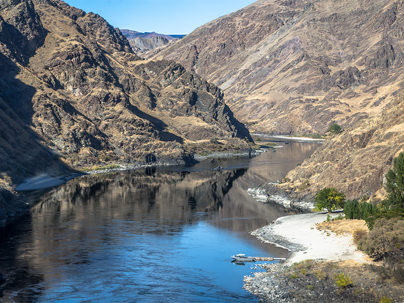 Canyon walls line the Snake River in Hells Canyon in the Lewis Clark Valley region of Idaho.