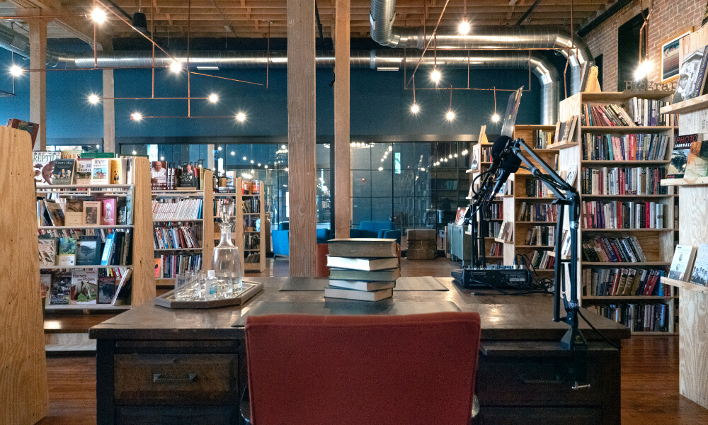 A bookstore brimming with books inside of the historic Lammy Building in Sedalia, MO