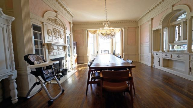 The formal dining room of the Newell's house in St. Joseph, MO