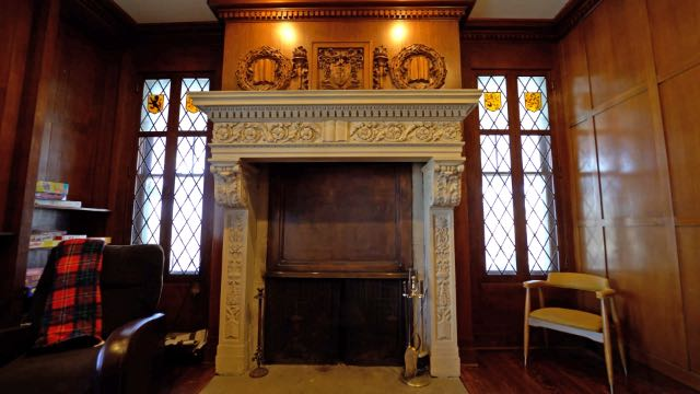 An ornate fireplace in one of the Newell's living rooms  in St. Joseph, MO