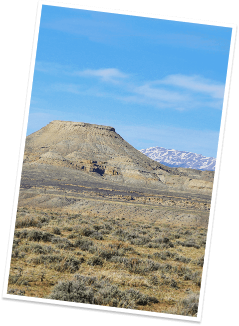 A peak plateaus into a tabletop mesa called Crowheart Butte in rural Fremont County, Wyoming.